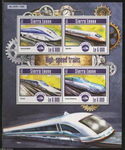 SIERRA LEONE 2015 HIGH SPEED TRAINS SHEET  MINT NH