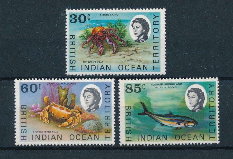 [49224] British Indian Ocean Territory 1970 Marine life fish crabs  MNH
