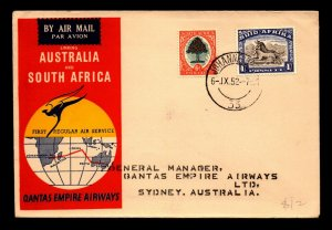 South Africa 1952 FFC to Australia - L7621