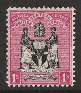 BRITISH CENTRAL AFRICA : 1895 Arms 1/- black & rose, no wmk.