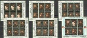 T1027 1967 YEMEN ART PAINTINGS REMBRANDT VAN RIJN !!! 6SH MNH