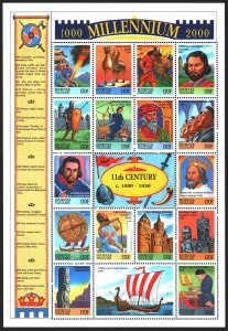 Togo. 1999. Small sheet 2906-22. Millennium, Yaroslav the Wise, Vikings, conq...