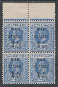 CAYMAN ISLANDS 1917 WAR STAMP KGV 11/2D ON 21/2D VARIETY STRAIGHT SERIF MNH **
