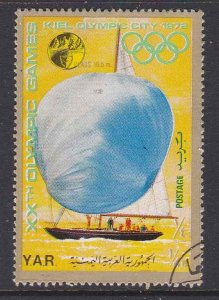 Yemen #297b (Gold border) F-VF used (CTO) Munich Olympic Sailing Yachts