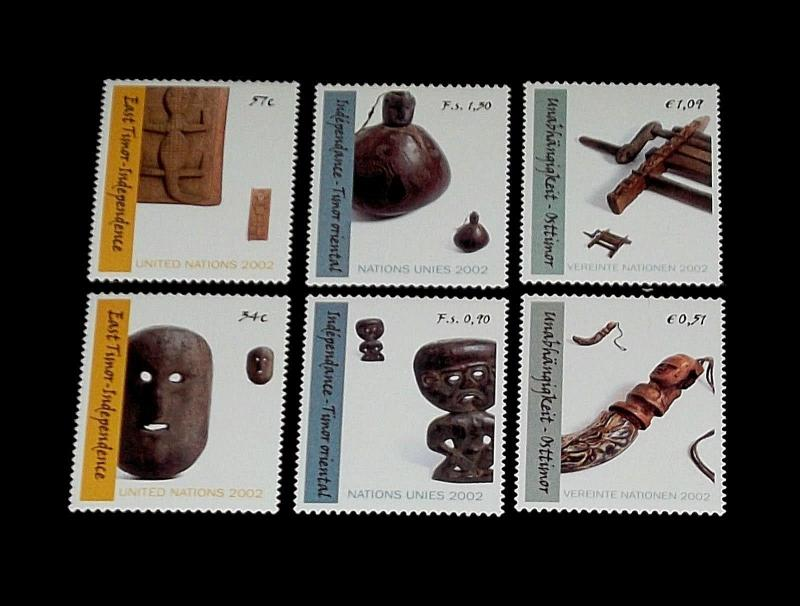 U.N,2002, INDEPENDENCE OF EAST TIMOR MNH,SINGLES,ALL 3 OFFICES, NICE!! LQQK!!