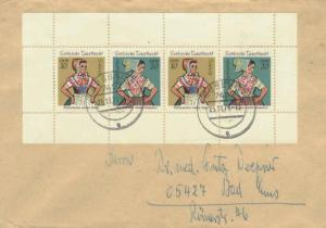 Germany East Germany 10pf (2) and 20pf (2) Sorbian Dance Costume Booklet Pane...