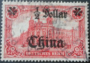 German Post Offices in China 1906 Half Dollar with PEKING postmark