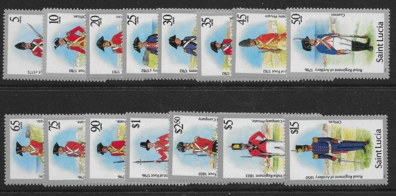ST.LUCIA SG797/811 1990 MILITARY UNIFORMS SET MNH
