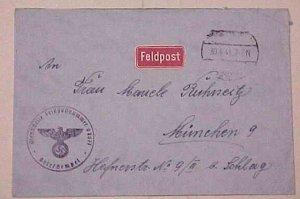 GERMAN FELDPOST  LITHUANIA #087077 WILNO 30-4-41