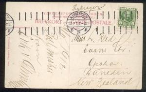 DENMARK TO NEW ZEALAND 1912 postcard Copenhagen machine cancel.............89225
