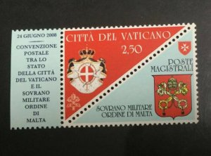 Vatican City Sc# 1395 Mint Never Hinged MNH - Postal Convention 2008 with Label!