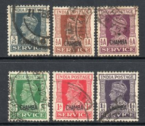 Indian States Chamba 1940 Official KGVI p/set (6v.) used