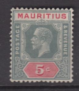 Mauritius - Scott 184 - KGV Definitives -1922 - MVLH - Single 5c Stamp