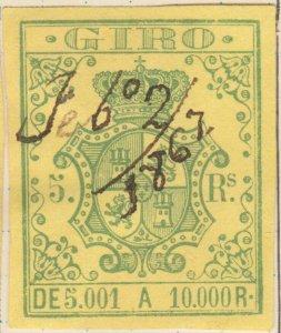ESPAGNE / SPAIN / ESPAÑA 1861 Sello Fiscal (GIRO) 5 reales - Usado