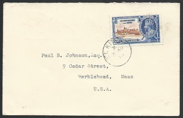 ST KITTS NEVIS 1935 cover to USA, Jubilee 2½d. St Kitts cds................53142