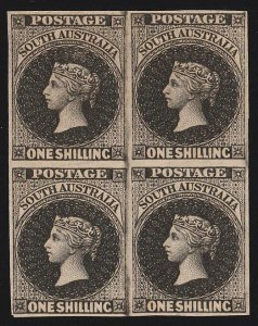 SOUTH AUSTRALIA : 1855 QV 1/- Black, block , London printing, imperf PROOF.