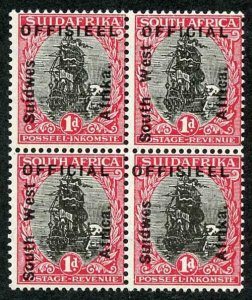 SOUTH WEST AFRICA SGO2 Official 1926 1d type O1/2 opts MINT BLOCK