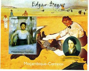 Mozambique 2004 FREDERIC CHOPIN Edgar DEGAS Paintings s/s Perforated Mint (NH)