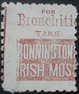 New Zealand 1893 Six Pence with Bonningtons Moss in Brown Red ad SG 224be used