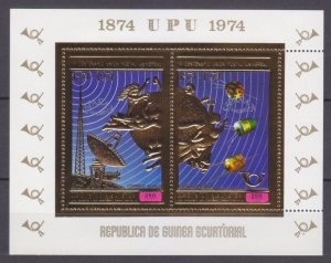 1974 Equatorial Guinea 465-466/B142gold 100 years of ITU / Satellite