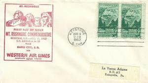 1011 3c MT. RUSHMORE - 1st Western Air Lines cachet