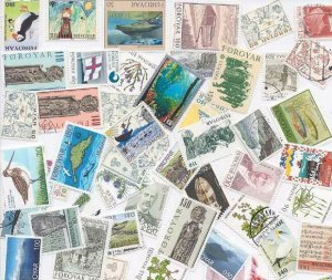 Faroe Islands Stamp Collection - 100 Different Stamps