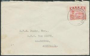 NAURU 1945 cover to Australia - 1½d freighter..............................37847