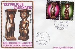 Gabon 1980  Sc#453/454  Art-Christmas '80 Set (2) Official FDC