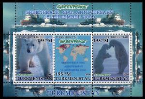 Turkmenistan 2000 MNH Greenpeace 3v M/S Arctic Animals Polar Bears Ships Stamps