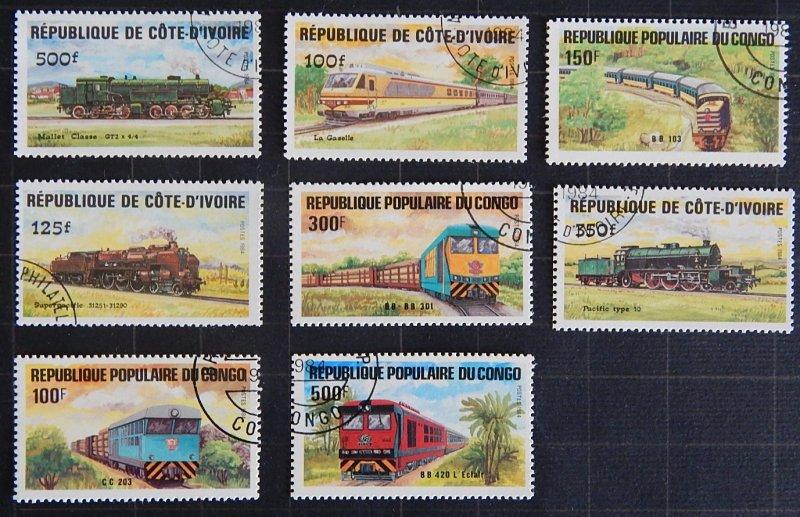 Trains, Republic of Congo and Cote d'Ivoire, (1672-Т)