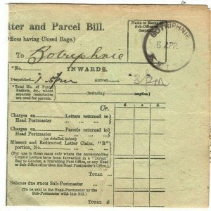 GB PARCEL BILL Form Scarce Rubber *BOTRIPHNIE* Scotland Banffshire 1905 23b.12