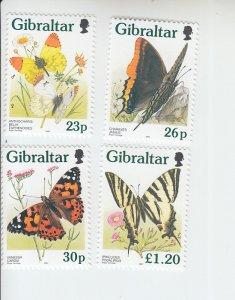 19976 Gibraltar Butterflies (Scott 728-31) MNH