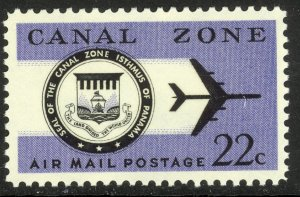 CANAL ZONE 1968-76 22c SEAL AND JET PLANE Airmail Sc C51 MNH