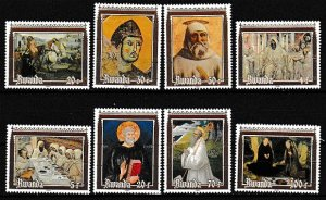 Rwanda 1981 Scott 1051-1058 Paintings and Frescoes MNH