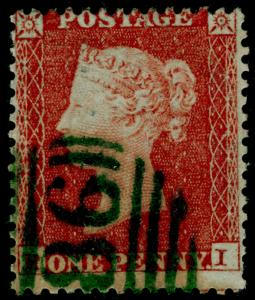 SG22, 1d red-brown, SC14 DIE I, USED. Cat £450. GREEN DUBLIN POSTMARK. RI