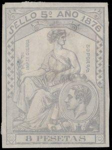 ESPAGNE / SPAIN / ESPAÑA Fiscales 1876 - Póliza Sello 5° 8 Pts - (faults)