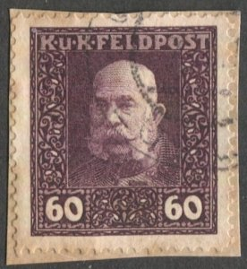 AUSTRIA 1915 MILITARY STAMPS Sc M39  60h brown violet, Used on piece VF