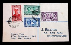 STAMPS SWAZILAND SC# 44-47 FDC 1947 ROYAL VISIT TO JOHANNESBURG S. AFRICA