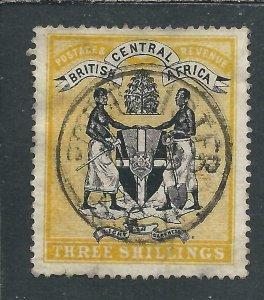 NYASALAND 1895 3s BLACK & YELLOW FU SG 27 CAT £65