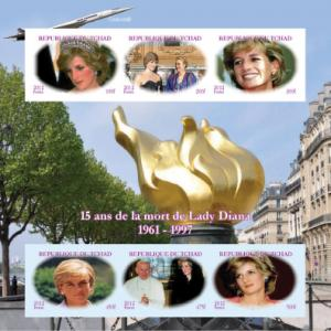 Chad 2012 Diana Princess 15th.Anniv/Grace of Monaco/Pope JPaul II  Imperf.