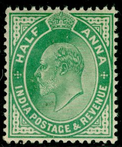 INDIA SG121, ½a yellow-green, LH MINT.