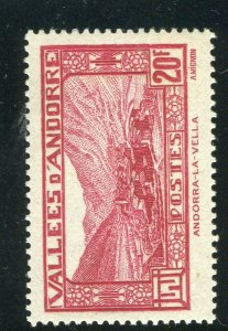 FRENCH ANDORRA; 1932 early Pictorial issue fine Mint hinged 20Fr. value