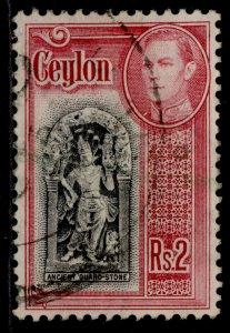 CEYLON GVI SG396, 2r black & carmine, FINE USED.
