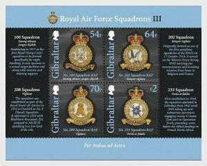 2014  GIBRALTAR - SG. MS1610  -  R.A.F. SQUADRONS   -  MINI SHEET UNMOUNTED MINT