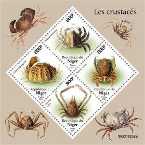Niger 2021 MNH Marine Animals Stamps Crabs Crustaceans 4v M/S