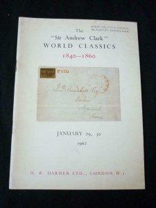 HR HARMER AUCTION CATALOGUE 1962 SIR ANDREW CLARK WORLD CLASSICS 1840-1860 NSW