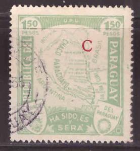 Paraguay Scott L35 Used map stamp C Interior office stamp