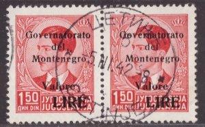 Montenegro, 1,50 lire soprastampato del 1942 coppia usata       -CN62