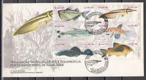 Brazil, Scott cat. 2157 A-F. Freshwater Fish issue on a First Day Cover.