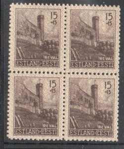Estonia Sc NB1 1941 15 + 15 Castle Tower stamp block of 4  mint NH